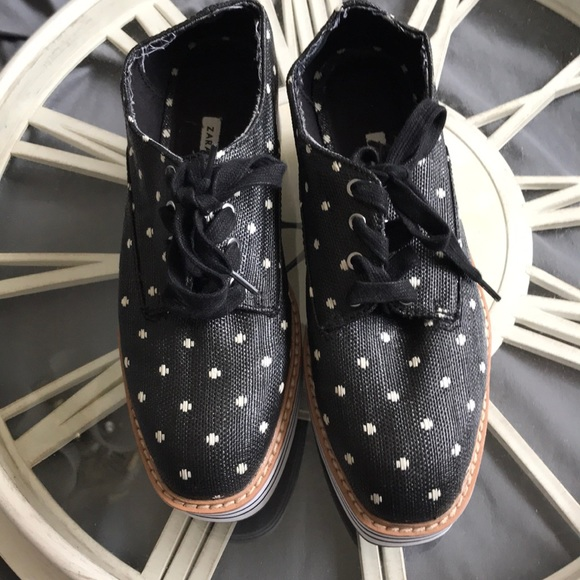 Zara Black Polka Dot Platform Shoes